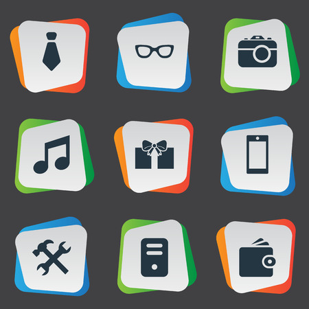 Vector Illustration Set Of Simple Accessories Icons. Elements Digital Camera, Eyeglasses, Cravat And Other Synonyms Photo, Tie And Grant. Illustration