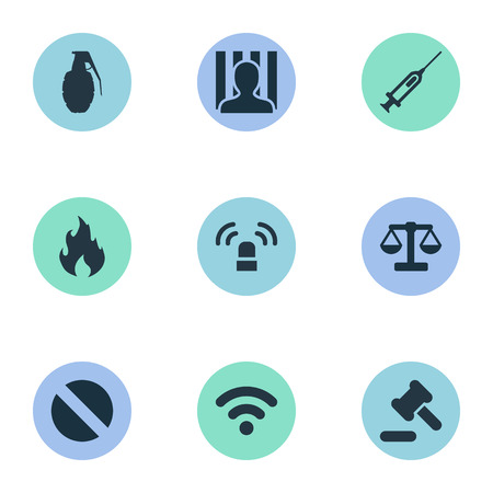 Vector Illustration Set Of Simple Crime Icons. Elements Prison, Siren, Explode And Other Synonyms Syringe, Prescription And Arrest.