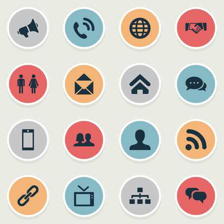 Vector Illustration Set Of Simple Network Icons. Elements Partner, Telly, House Location And Other Synonyms Structure, Television And Conversation.