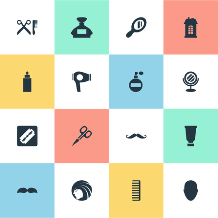 Vector Illustration Set Of Simple Beautician Icons. Elements Bottle, Hackle, Scent And Other Synonyms Barbershop, Building And Hairdryer. Ilustrace