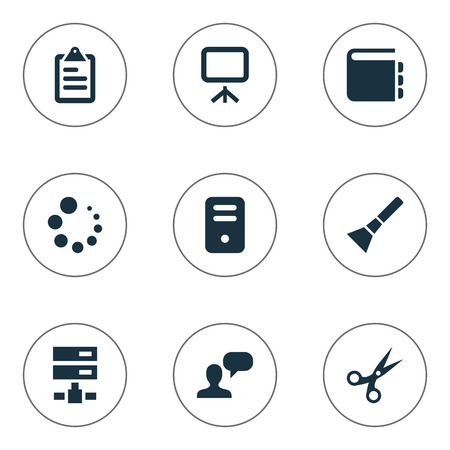 hub computer: Vector Illustration Set Of Simple UI Icons. Elements System Unit, Cut, List And Other Synonyms Flashlight, Plan And Inventory. Illustration