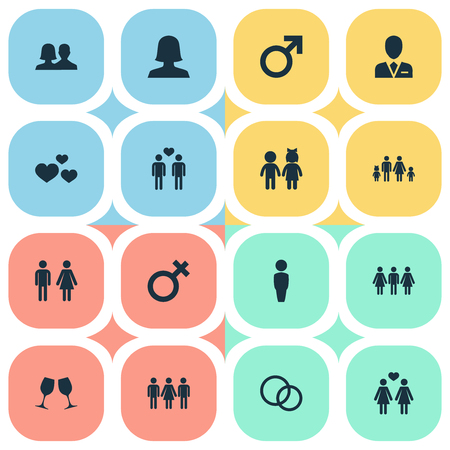 Vector Illustration Set Of Simple Lovers Icons. Elements Mister, Heart, Homosexual And Other Synonyms Engagement, Homosexual And Beloveds. 向量圖像