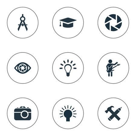 Vector Illustration Set Of Simple Creative Thinking Icons. Elements Zoom, Lightbulb, and others. Illustration