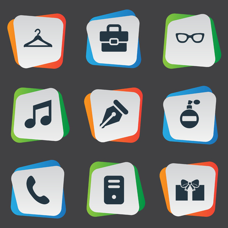 Vector Illustration Set Of Simple  Icons. Elements Eyeglasses, Gift, Music And Other Synonyms Eyeglasses, Grant And Pen.