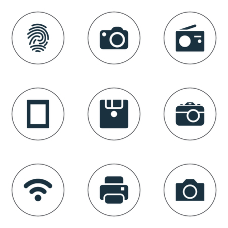 Vector Illustration Set Of Simple Hardware Icons. Elements Touch Computer, Camera, Photocopier And Others.