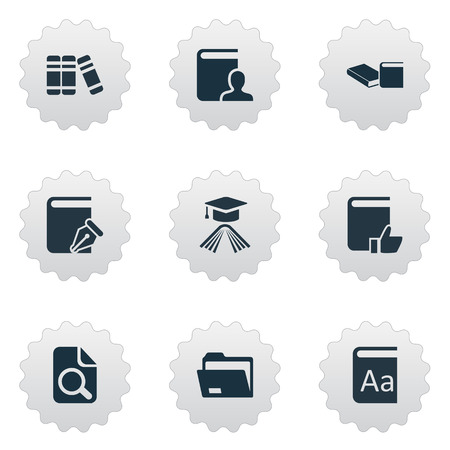 Vector Illustration Set Of Simple Education Icons. Elements Author, Sketchbook, Document Archive And Other Synonyms Library, Hat And Literature. Stock Vector - 75504610