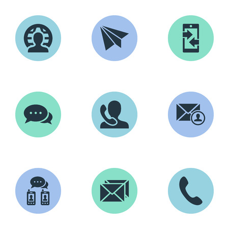 Vector Illustration Set Of Simple Connect Icons. Elements Aircraft, Speaking Human, Telephone Switchboard And Other Synonyms Message, Global And Handset.