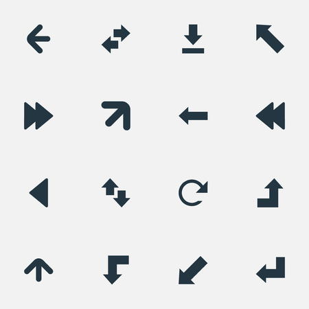 Vector Illustration Set Of Simple Arrows Icons. Elements Upward Direction, Rearward, Right-Up And Others.