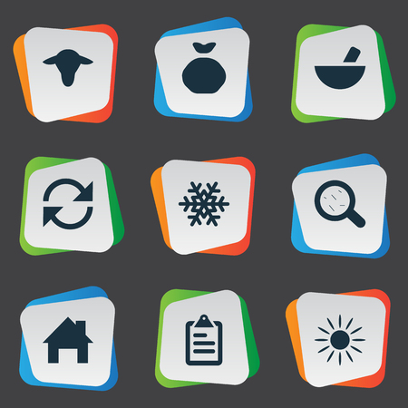 Vector Illustration Set Of Simple Agricultural Icons. Elements Snowflake, Buffalo, Virus And Other Synonyms Snow, List And Small. Stok Fotoğraf - 75377145