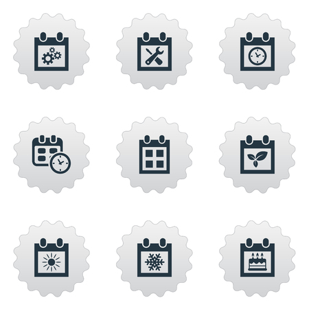 almanac: Vector Illustration Set Of Simple Calendar Icons. Elements Almanac, Special Day, Summer Calendar And Others.