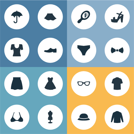 Vector Illustration Set Of Simple Clothes Icons. Elements Attire, Swewatshirt, T-Shirt And Other Synonyms Woman, Optic And Skirt.