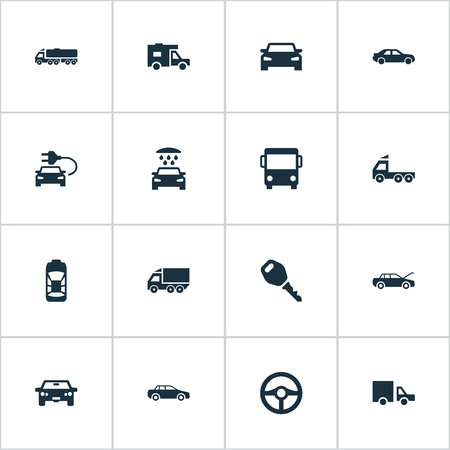 Vector Illustration Set Of Simple Auto Icons. Elements Key, Traffic, Carriage And Other Synonyms Trucking, Camion And Wheel.