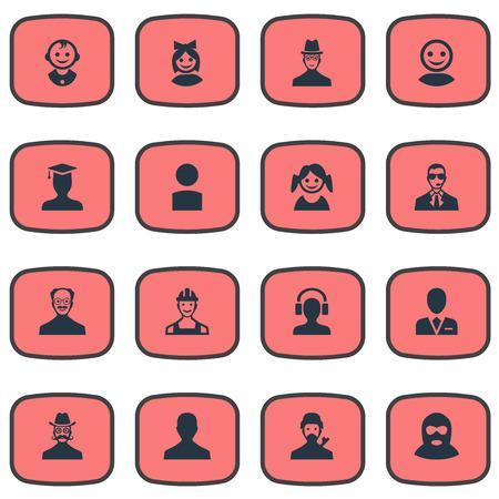 Illustration vectorielle définie des icônes simples d'avatar. Éléments masculins avec casque, Whiskers Man, initié et autre utilisateur de synonymes, chapeau et travailleur. Banque d'images - 75445522