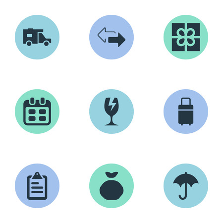Vector Illustration Set Of Simple Carting Icons. Elements Opposite Directions, Clipboard, Caravan And Other Synonyms Board, Glass And Caravan.
