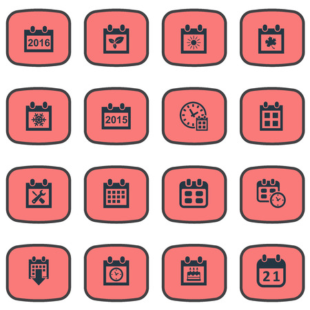Vector Illustration Set Of Simple Calendar Icons. Elements Deadline, Date, Event And Other Synonyms Annual, Reminder And Agenda.