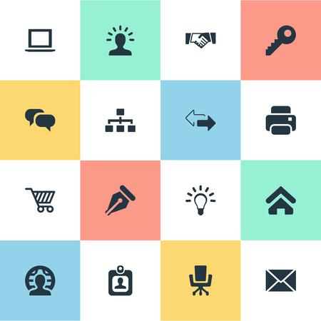Illustration vectorielle définie des icônes de commerce simple. Éléments Mot de passe, utilisateur, chat et autres synonymes ordinateur portable, membre et parler. Banque d'images - 75445651