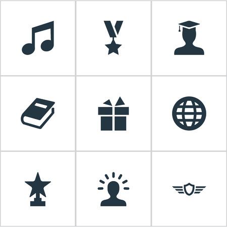 벡터 일러스트 레이 션 간단한 챔피언 아이콘의 집합입니다. 요소 현재, 수상, 상금 및 기타 동의어 세계, 메달 및 날개.