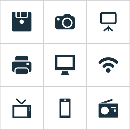 Vector Illustration Set Of Simple Hardware Icons. Elements Television, Smartphone, Tuner And Other Synonyms Print, Board And Save. Ilustração