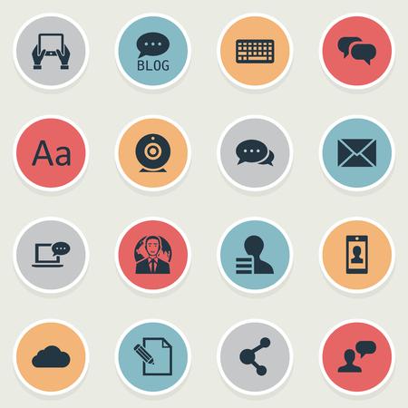 Vector Illustratie Set Van Eenvoudige Blogging Pictogrammen. Elementen Internationale Zakenman.