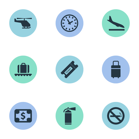Vector Illustration Set Of Simple Airport Icons. Elements Travel Bag, Luggage Carousel, Protection Tool And Other Synonyms Fire, Helicopter And Plane.