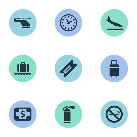 벡터 일러스트 레이 션 간단한 공항 아이콘의 집합입니다. 요소 여행 가방, 수하물 회전 목마, 보호 도구 및 다른 동의어 화재, 헬리콥터 및 비행기.
