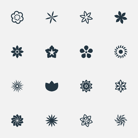 Vector Illustration Set Of Simple Flower Icons. Elements Larkspur, Narcissus, Crocus And Other Synonyms Lily, Natural And Gerberas.