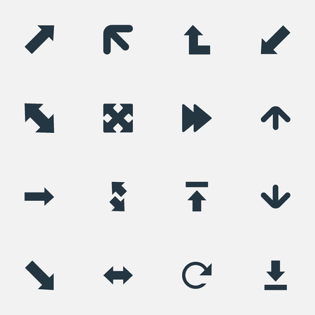 Vector Illustration Set Of Simple Arrows Icons. Elements Let Down, Right Direction, Advanced And Other Synonyms Upper, Left And Down Left Pointing.