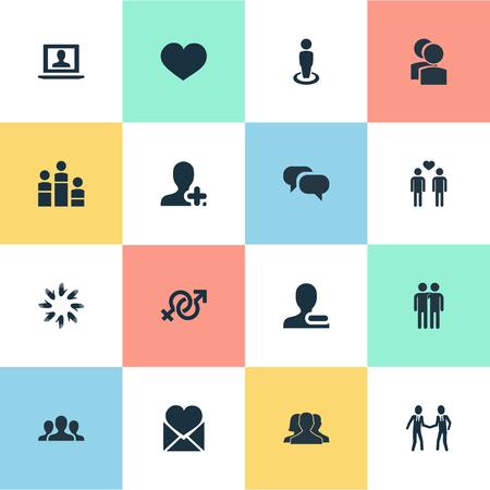 soltería: Ilustración vectorial Conjunto de iconos de Mates simple. Elements Singleness, Add Friend, Heart Y Otros Sinónimos Conversación, Companion And Community. Vectores