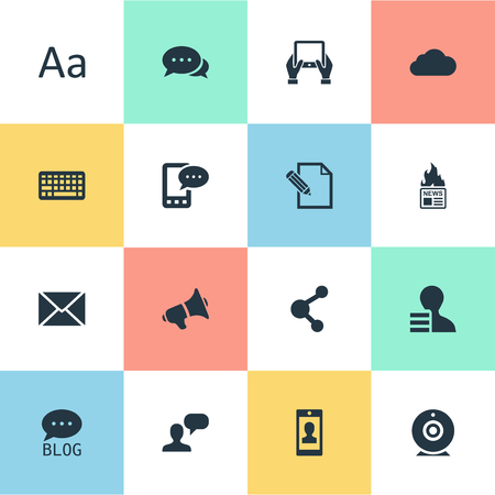 Vector Illustration Set Of Simple User Icons. Elements Notepad, Gain, Share And Other Synonyms Message, Network And Debate.
