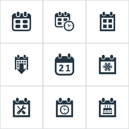 Vector Illustration Set Of Simple Plan Icons. Elements Agenda, Reminder, Event And Other Synonyms Repair, Special And Data.