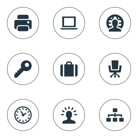 Vector Illustration Set Of Simple Trade Icons. Elements Printing Machine, Computer, Relationship And Other Synonyms Notebook, Watch And Machine.