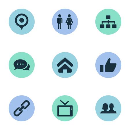 벡터 일러스트 레이 션 간단한 네트워크 아이콘의 집합입니다. 요소 파트너십, 링크, 파트너 및 기타 동의어 홈, 커플 및 하우스.