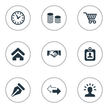 Vector Illustration Set Of Simple Trade Icons. Elements Trading Purse, Partnership, Hard Money And Other Synonyms Cart, Right And Identity. Illustration