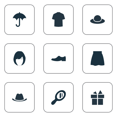 brolly: Vector Illustration Set Of Simple Dress Icons. Elements Head Accessory, Man Clothing, Elegance And Other Synonyms Shoes, Umbrella And Hat. Illustration