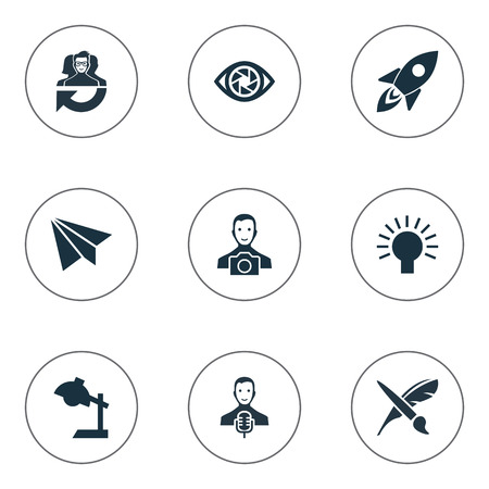 Vector Illustration Set Of Simple Visual Art Icons. Elements Concentration, Electric, Cameraman And Other Synonyms Brush, Message And Team. Illustration