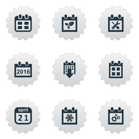 almanac: Vector Illustration Set Of Simple Time Icons. Elements Snowflake, Remembrance, Almanac And Other.