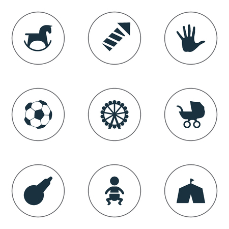 Vector Illustration Set Of Simple Kid Icons. Elements Kid, Stroller, Palm And Other Synonyms Stroller, Soccer And Kid. Illustration