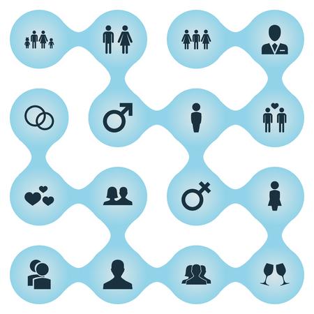 벡터 일러스트 레이 션 간단한 몇 아이콘의 집합입니다. 요소 변호사, 남성, 마담 및 기타 동의어 이혼, 남성 및 남성.