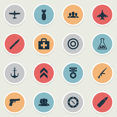 Vector Illustration Set Of Simple Battle Icons. Elements Sky Force, Pistol, Ammunition And Other Synonyms Aviation, Medical And Ship. Çizim