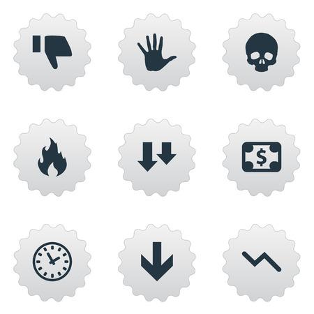 単純な行き詰まりアイコンのベクター イラスト セット。頭の骨、火災やその他の要素情報グラフ