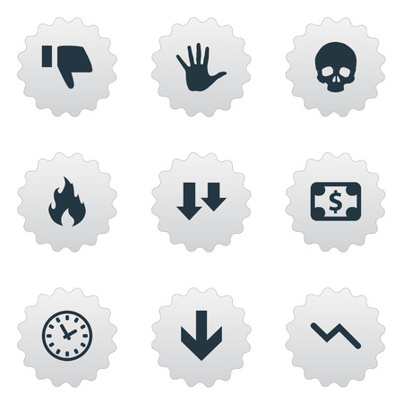 Vector Illustration Set Of Simple Impasse Icons. Elements Info Graph, Head Bone, Fire And Other.