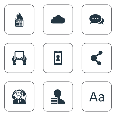 writing pad: Vector Illustration Set Of Simple Newspaper Icons. Elements Overcast, Notepad, Cedilla And Other Synonyms Hot, Gain And Profile. Illustration