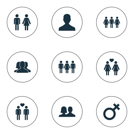 Vector Illustration Set Of Simple Beloved Icons. Elements Husband, Alternative, Homosexual Synonyms.