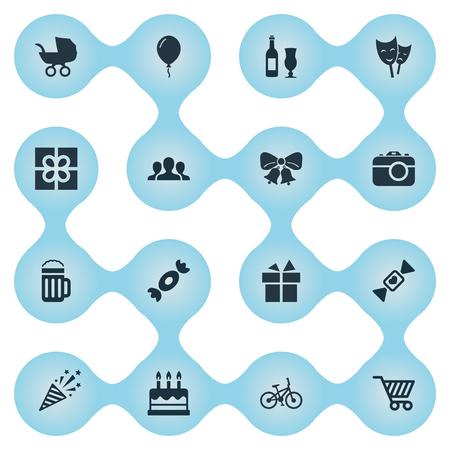 Vector Illustration Set d'icônes de vacances simples. Elements Store Panier, vélo, caramel et autres synonymes Aerostat, Champagne et Sweet. Banque d'images - 75445588