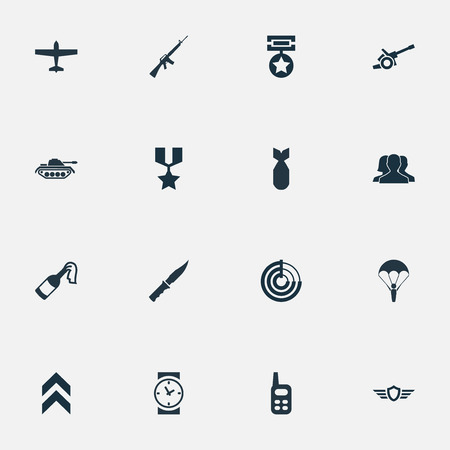 Vector Illustration Set Of Simple Battle Icons. Elements Paratrooper, Shield, Nuke And Other Synonyms Wing, Bomb And Artillery.