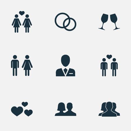Ilustración vectorial Conjunto de iconos de los amantes simples. Elementos Corazón, compañeros, disolver el matrimonio Y otros. Foto de archivo - 75632104