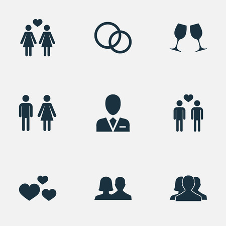 Vector Illustration Set Of Simple Lovers Icons. Elements Heart, Mates, Dissolve The Marriage And other. 向量圖像