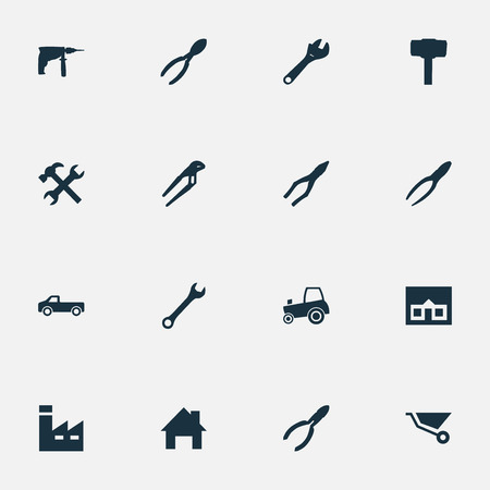 Vector Illustration Set Of Simple Build Icons. Elements Spanner, Clamping Instrument, House And Other.