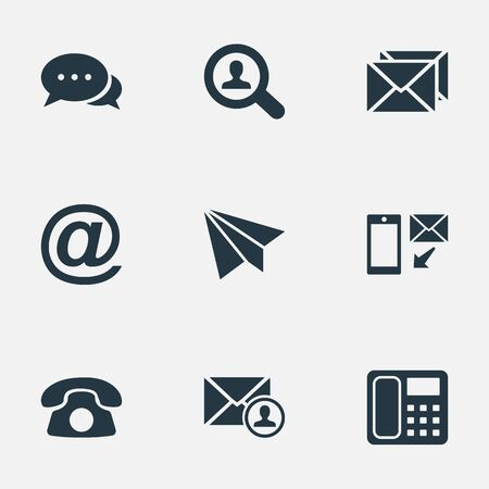 Vector Illustration Set Of Simple Contact Icons. Elements Dialogue, E-Mail Symbol, Job Research And Other Synonyms Talk, Message And Chat.