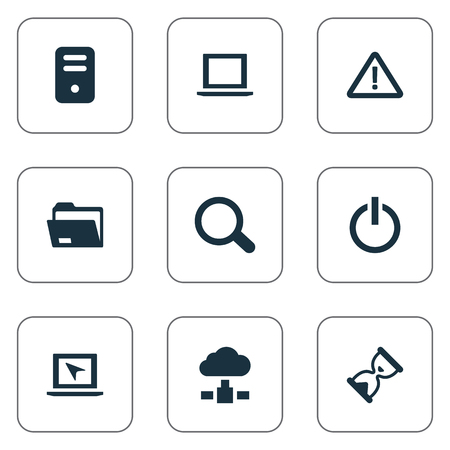 Vector Illustration Set Of Simple Laptop Icons. Elements Dossier, Switch Button, Memory And Other Synonyms Unit, Loading And Search.